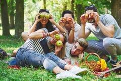 Amis heureux ayant l'amusement dehors en nature Image stock