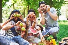 Amis heureux ayant l'amusement dehors en nature Photos stock