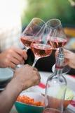 Amis heureux ayant l'amusement dehors, mains grillant le verre de vin rosé Image libre de droits