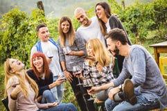 Amis heureux ayant l'amusement extérieur - les jeunes buvant du vin rouge au vignoble d'établissement vinicole Image libre de droits