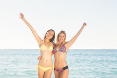 Amis heureux ayant l'amusement près de l'eau Photos libres de droits