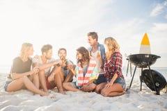 Amis heureux ayant l'amusement près du barbecue Photos stock