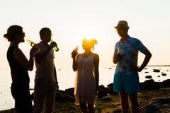 Amis heureux buvant des boissons et ayant une partie Photos libres de droits