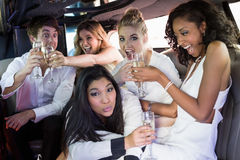 Amis heureux buvant du champagne Photographie stock libre de droits