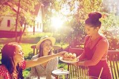 Amis heureux dînant à la réception en plein air d'été Photographie stock