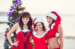 Amis heureux dans des chapeaux de Santa sur la plage Vacances de Noël Photographie stock