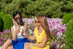 Amis heureux de femmes mangeant la crème glacée  Images stock