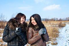 Amis heureux dehors à l'hiver Photo stock