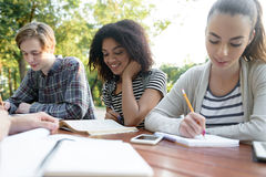 Amis heureux des jeunes s'asseyant et étudiant dehors Image stock