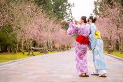 Amis heureux dirigeant des fleurs de cerisier Images stock