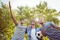 Amis heureux en parc avec le football Photographie stock