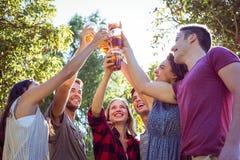 Amis heureux en parc ayant des bières Photo libre de droits