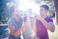 Amis heureux en parc ayant des bières Photographie stock