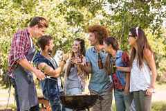 Amis heureux en parc ayant le barbecue Photographie stock libre de droits