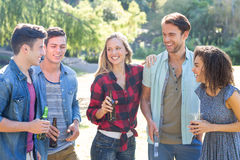 Amis heureux en parc ayant le barbecue Photo stock