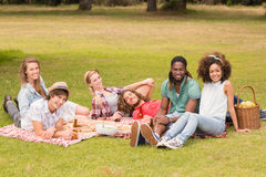 Amis heureux en parc ayant le pique-nique Images libres de droits