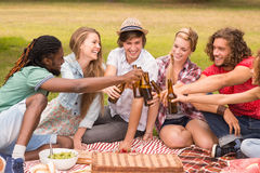 Amis heureux en parc ayant le pique-nique Photo libre de droits