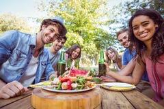 Amis heureux en parc ayant le pique-nique Image libre de droits