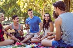 Amis heureux en parc ayant le pique-nique Photographie stock