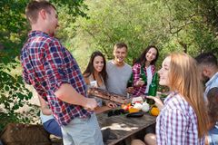 Amis heureux en parc ayant le pique-nique un jour ensoleillé Groupe de personnes adultes ayant l'amusement sur un pique-nique d'é Photographie stock