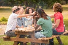 Amis heureux en parc prenant le déjeuner Images stock