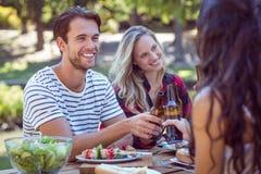 Amis heureux en parc prenant le déjeuner Photographie stock