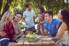 Amis heureux en parc prenant le déjeuner Image libre de droits