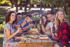 Amis heureux en parc prenant le déjeuner Images libres de droits