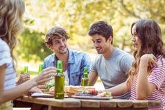 Amis heureux en parc prenant le déjeuner Photos stock