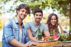 Amis heureux en parc prenant le déjeuner Image stock
