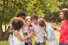 Amis heureux en parc prenant le selfie Photographie stock libre de droits