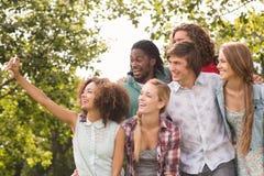 Amis heureux en parc prenant le selfie Photo stock
