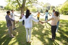Amis heureux en parc tenant des mains Photographie stock libre de droits