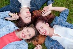Amis heureux en parc un jour ensoleillé Images libres de droits