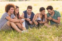 Amis heureux en parc utilisant leurs téléphones Photographie stock