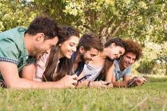 Amis heureux en parc utilisant leurs téléphones Images stock
