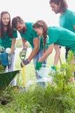 Amis heureux faisant du jardinage pour la communauté Images libres de droits