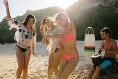 Amis heureux faisant la fête sur la plage Photos stock