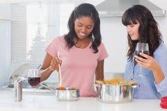 Amis heureux faisant le dîner ensemble Image libre de droits