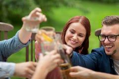Amis heureux faisant tinter des verres au jardin d'été Photographie stock