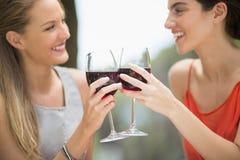 Amis heureux grillant des verres de vin Image libre de droits