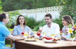 Amis heureux grillant des verres de vin dans le jardin tout en ayant l Photos stock