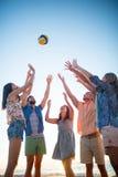 Amis heureux jetant le volleyball Image libre de droits