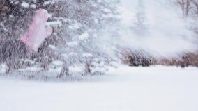 Amis heureux jouant avec la neige en hiver banque de vidéos