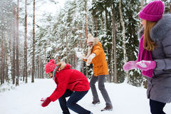 Amis heureux jouant la boule de neige dans la forêt d'hiver Images libres de droits