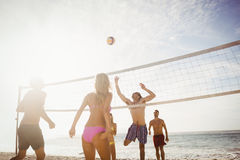 Amis heureux jouant le volleyball de plage Photo libre de droits