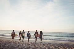Amis heureux marchant avec des planches de surf Images libres de droits