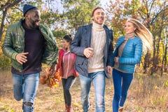 Amis heureux marchant en parc d'automne Images libres de droits