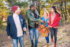 Amis heureux marchant en parc d'automne Image libre de droits