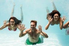 Amis heureux nageant Photos libres de droits